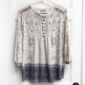 Lucky Brand Block Print Popover Shirt